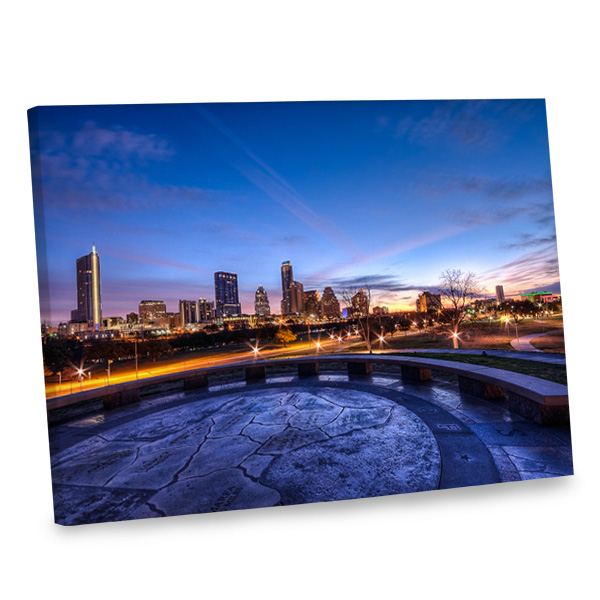 Add intrigue to your wall decor with our stunning dusk cityscape canvas print.