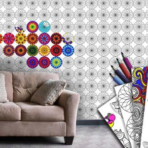 Perfect for kids, decorate your walls with wallpaper you can color yourself