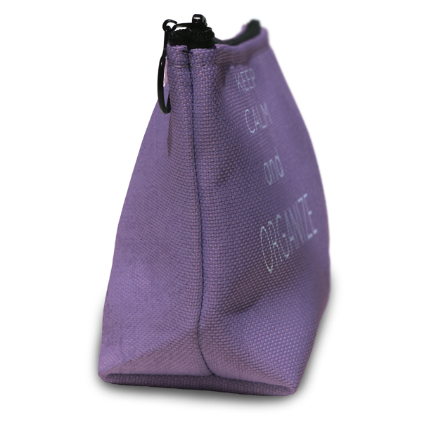 Personalized Accessory pouch is sewn together with durable canvas and a lined interior