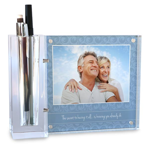 Add your photo and create a custom desk set and pencil holder