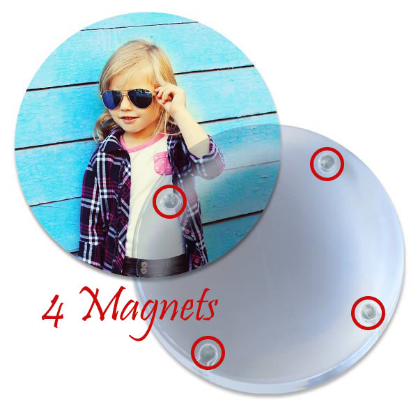 Paperweight doubles as magnifying reader, just add your own photo