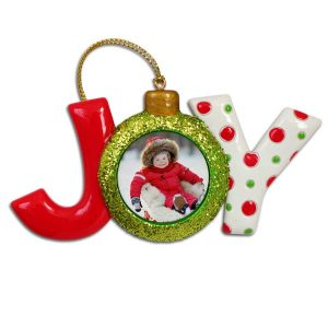 Create a custom Holiday Joy Ornament with your own photo