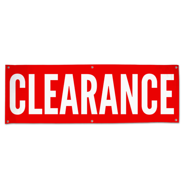 Order a custom pre-printed clearance banner size 6x2
