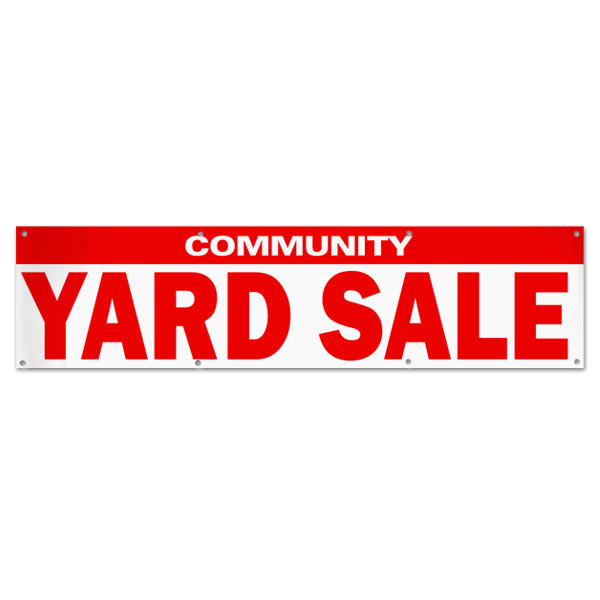 Re-usable pre-made community yard sale banner size 8x2