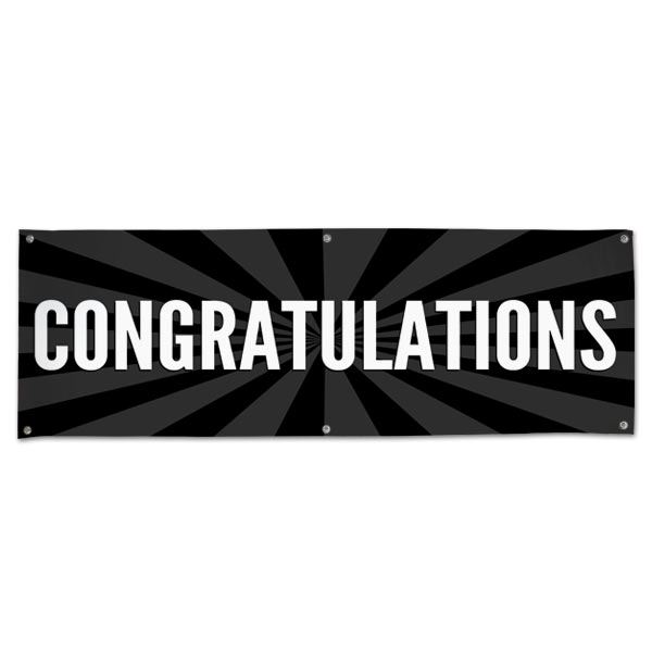 Celebrate in style with a Congratulations starburst banner black 6x2