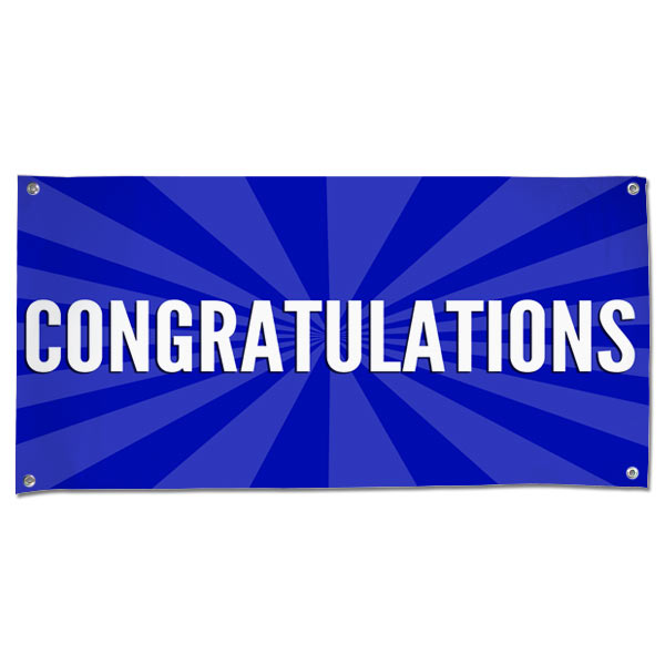 Celebrate in style with a Congratulations starburst banner blue 4x2
