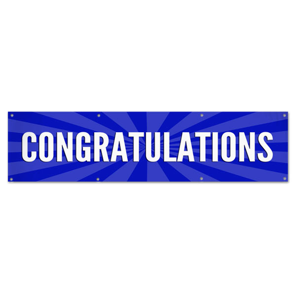 Celebrate in style with a Congratulations starburst banner blue 8x2