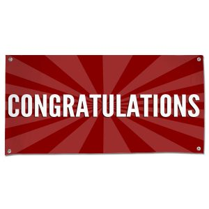 Celebrate in style with a Congratulations starburst banner red 4x2