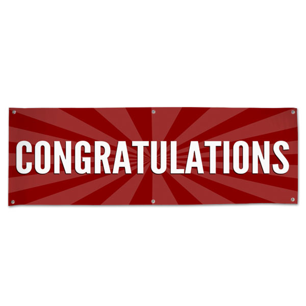 Celebrate in style with a Congratulations starburst banner red 6x2