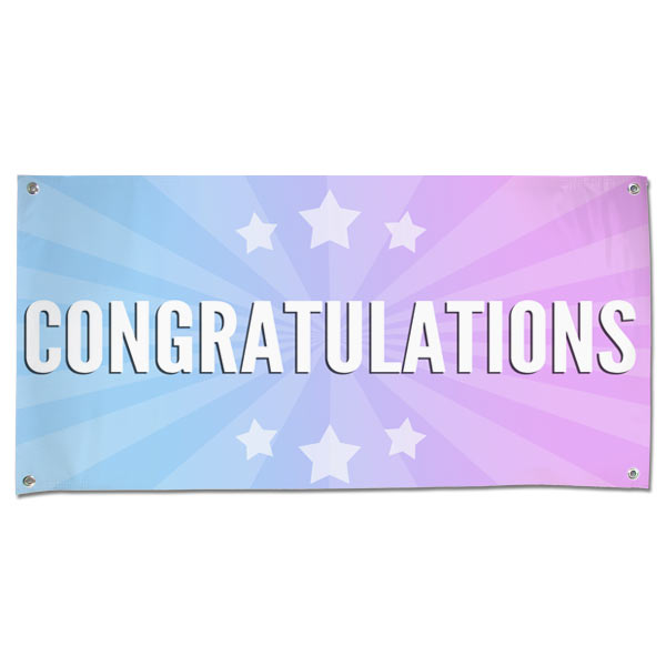Bright and beautiful starburst congratulations banner with multi-color background and stars size 4x2