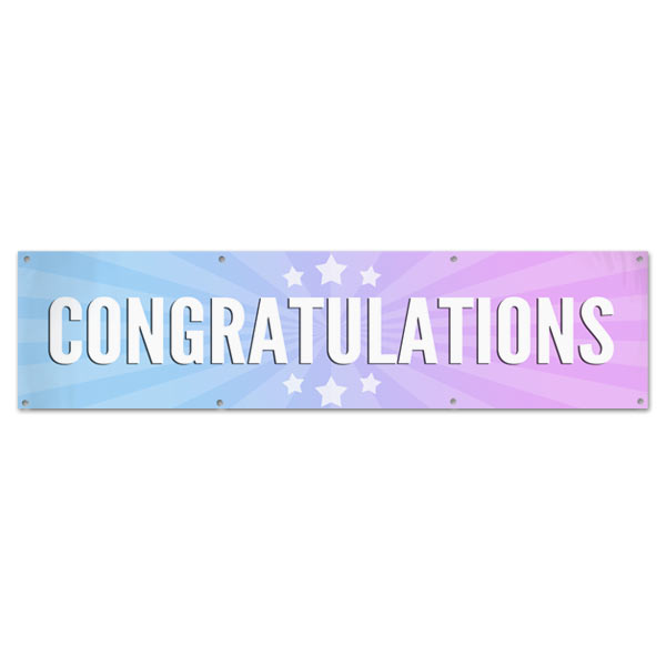 Bright and beautiful starburst congratulations banner with multi-color background and stars size 8x2