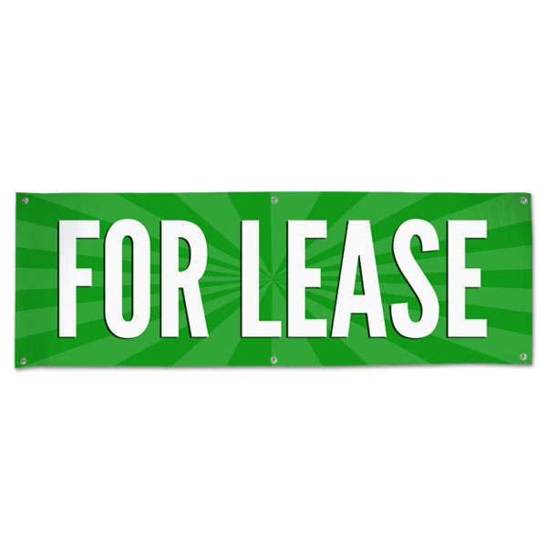 Lease your space and announce it to all with an easy to read banner green For Lease Banner size 6x2