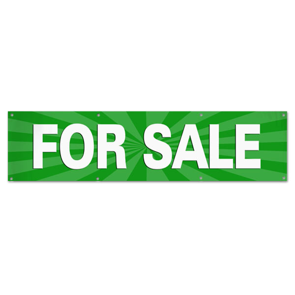 Sale your items and announce it large with a green For Sale starburst banner size 8x2