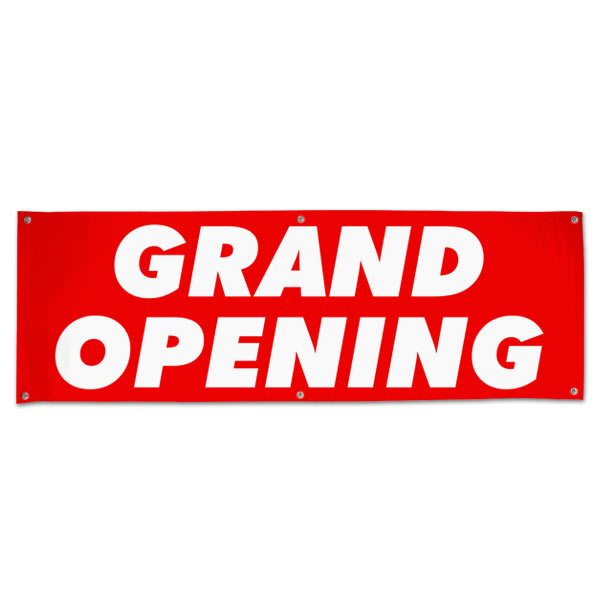 Get your business seen with a large bright red Grand Opening banner for opening day size 6x2