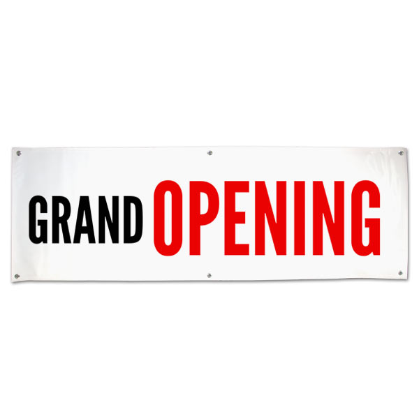 Announce the opening of your business with a clean and simple grand opening banner size 6x2