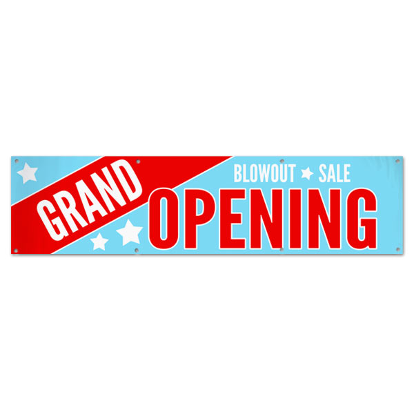 Your Business is open and ready for customers, let everyone know with a Grand Opening Blowout Sale Banner size 8x2