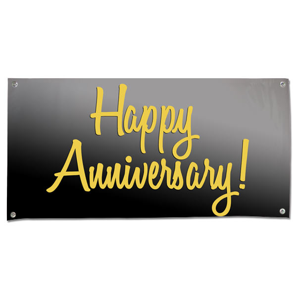 grommet vinyl happy anniversary banner in black and gold winkflash