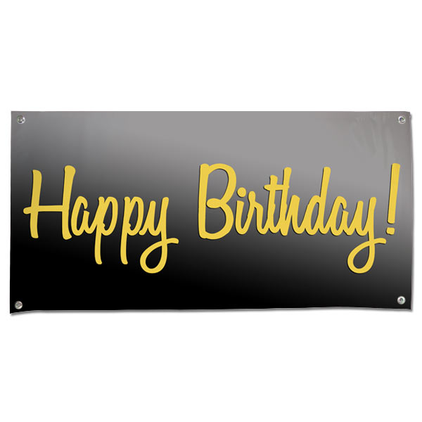 Elegant Vinyl Black And Gold Happy Birthday Banner With