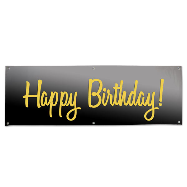 Elegant Black and Gold Happy Birthday banner for your birthday party size 6x2