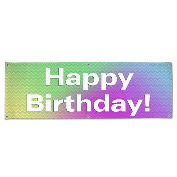 Plan for your Birthday Party with a bright and colorful fun Birthday Banner with Grommets size 6x2