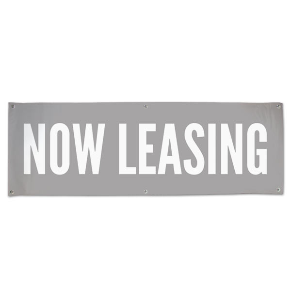 Low impact Now Leasing banner perfect for a shopping center or office space size 6x2
