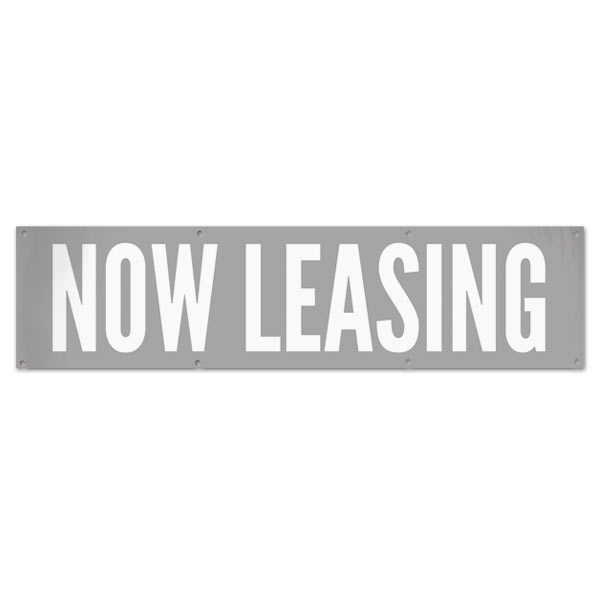 Low impact Now Leasing banner perfect for a shopping center or office space size 8x2