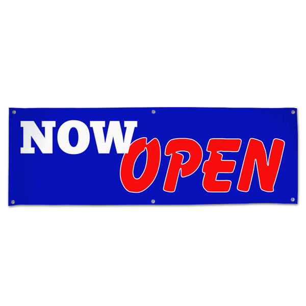 Let the word out and get customers in your door with a bright bold Now Open Sales Banner size 6x2