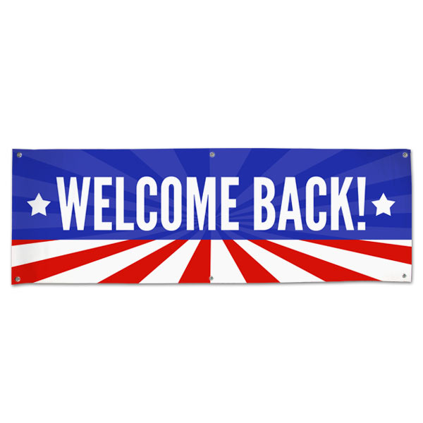 Wish someone a warm welcome with a patriotic American Flag Welcome Back Banner size 6x2