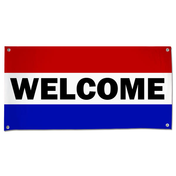 Order an outdoor welcome banner for parties, businesses, special events and more.