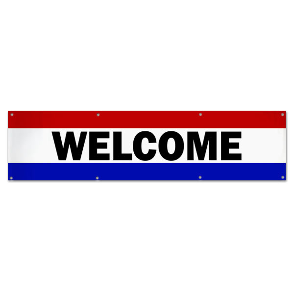 Hang a welcome banner in your small business or store using this classic patriotic Welcome Banner size 8x2