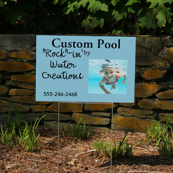 Create a lawn sign with photos and text to market your business