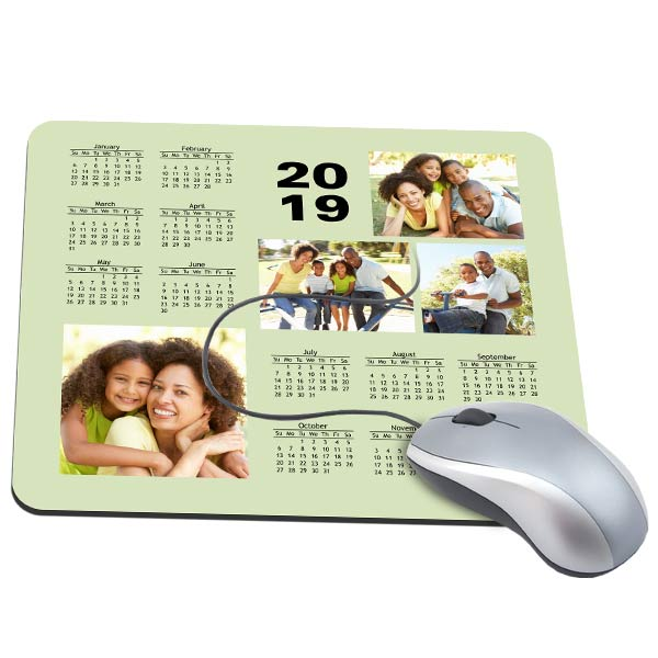 Choose your own background, add pictures and create a 2019 mouse pad calendar