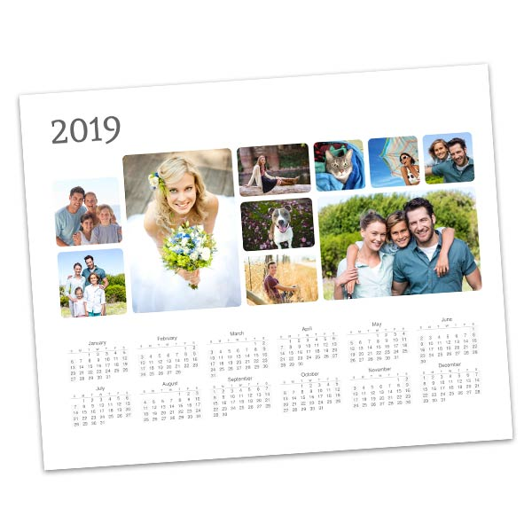 Create a photo collage calendar to keep at your desk for 2019