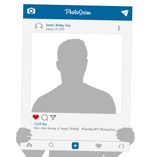 Create a custom selfie frame and even design one that looks like facebook and Instagram