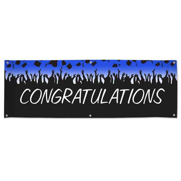 Hats in the air, Congratulations banner for your graduation party