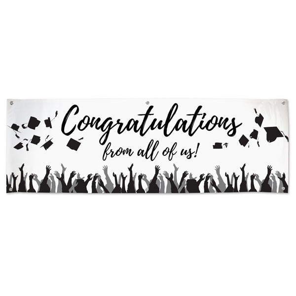 Celebrate your graduation with a Congratulations from all of us signature banner