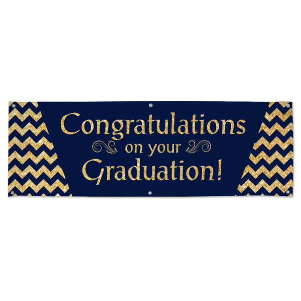 Gold Glitter and Navy Congratulations on your Graduation Banner