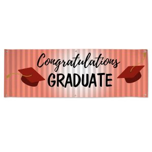 Red themed graduation banner for your graduating senior