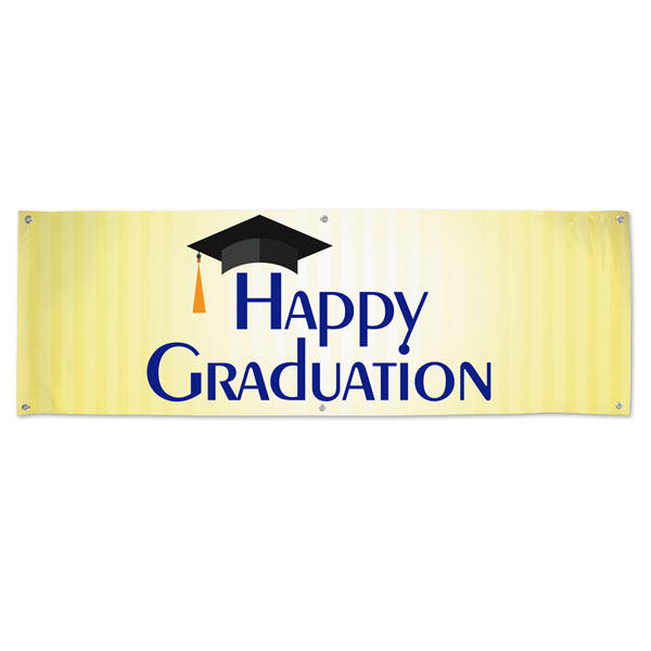Brighten up the party with a bright yellow Happy Graduation Banner