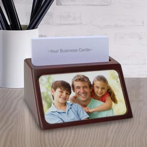 Add a photo and custom text to design your business card holder