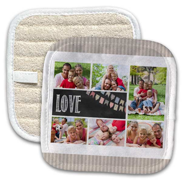Use your own photos and create a custom pot holder for your kitchen