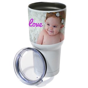 Brighten up your morning commute with a custom double walled travel tumbler photo gift