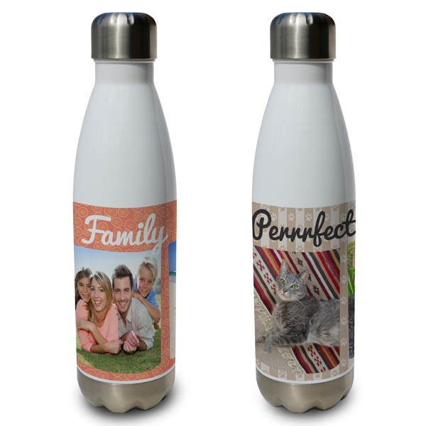 Create your own custom water bottle with photos and text
