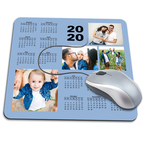 Choose your own background, add pictures and create a 2020 mouse pad calendar