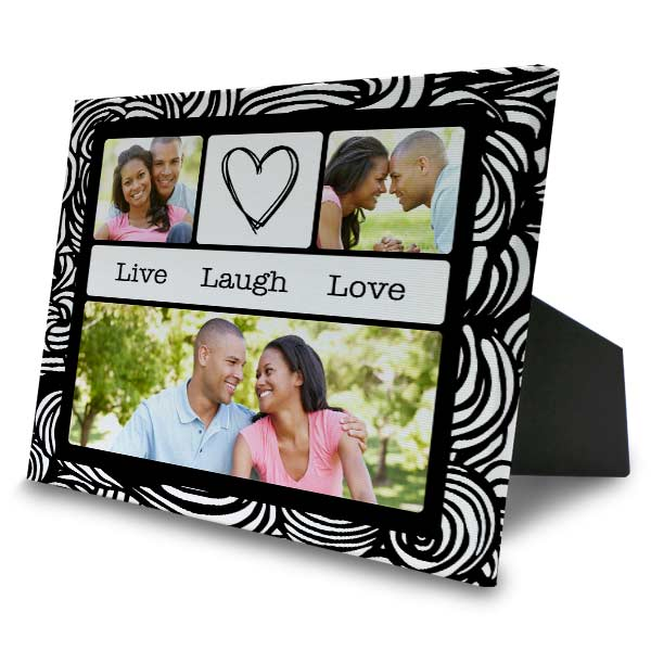 Create custom photo canvas with easel back for your home mantel or shelf.
