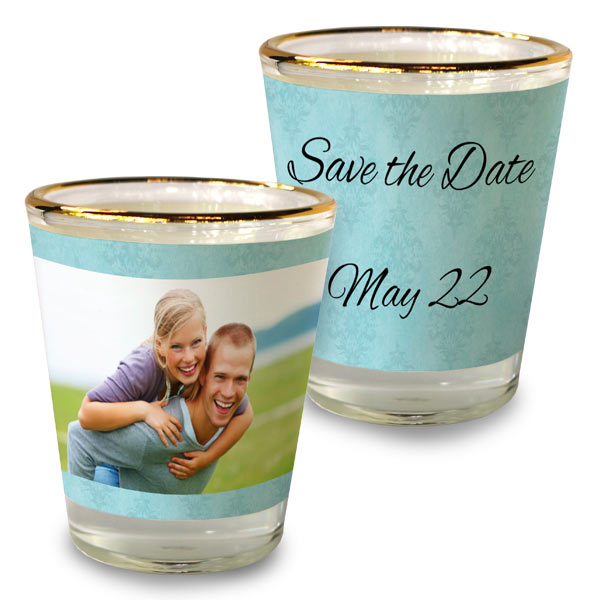 Create custom save the date shot glasses as wedding favors or party gifts