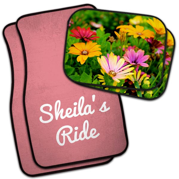 Sheila's Ride custom car floor mats and flower mats to compliment her she shed