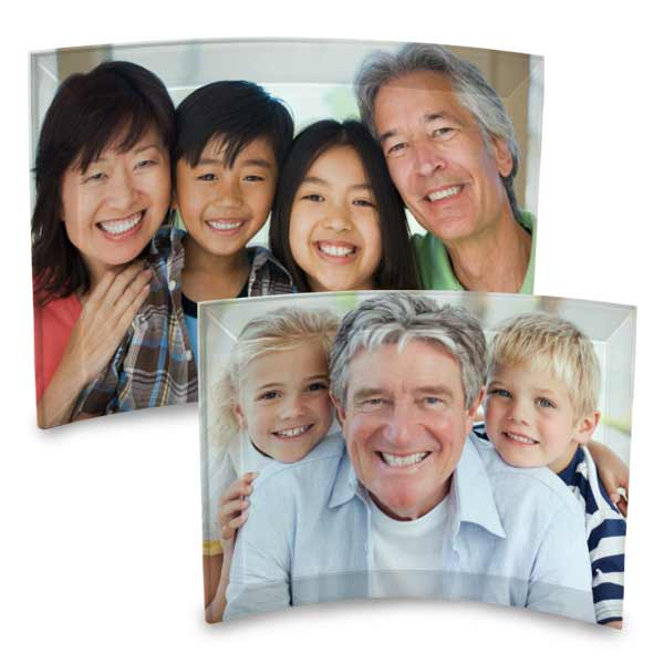 Beautiful decor with your photo printed on curved glass with beveled edges