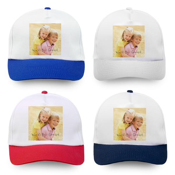 Personalized photo hats available in four different colors