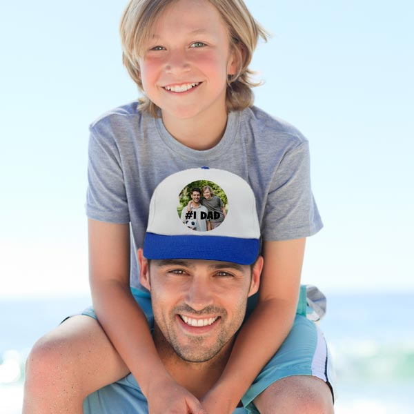 Personalize a gift for dad with a custom photo hat using pictures and text